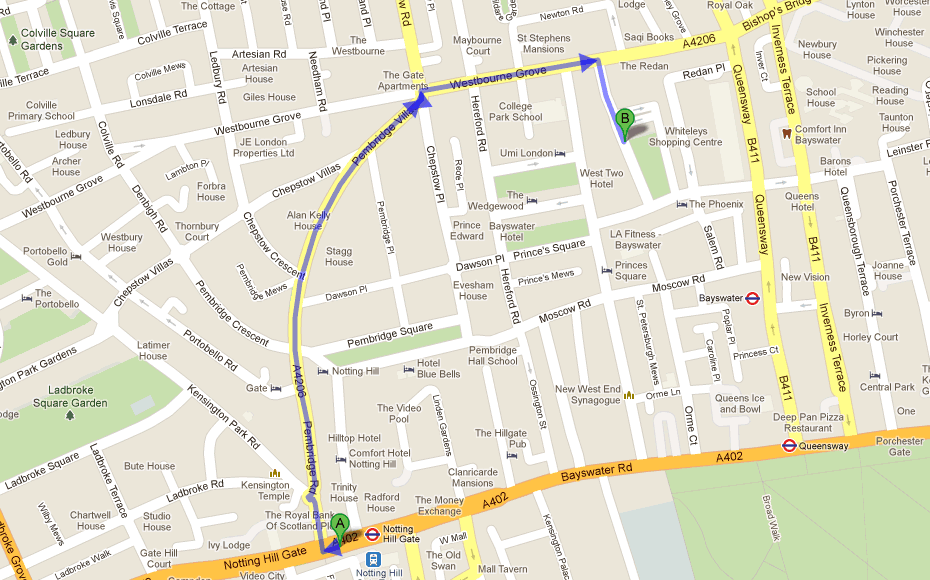 click to open directions from notting hill to the clinic on google maps