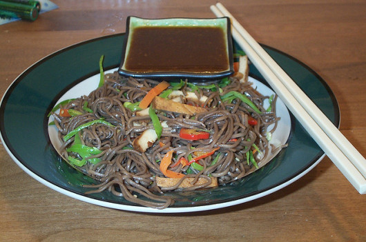 Buckwheat noodle salad by stu_spivack