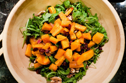 Roasted butternut squash salad with warm cider vinaigrette by Bobbi Bowers